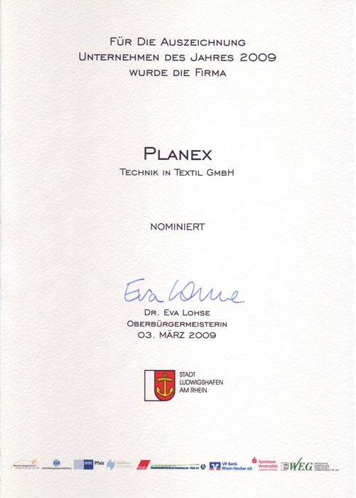 Nominierung Unternehmen des Jahres 2009 Planex