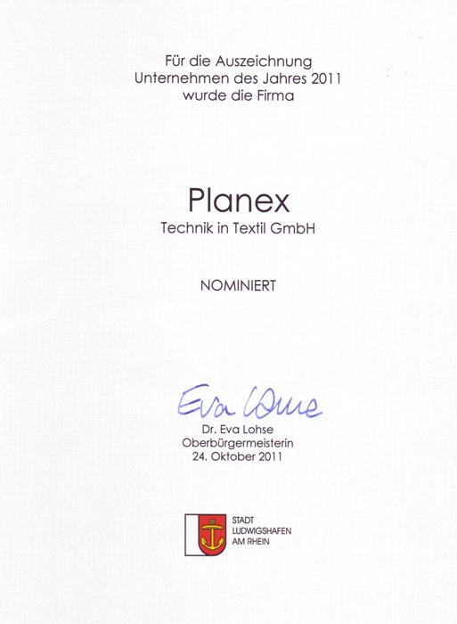 Unternehmerpreis 2011 für Planex