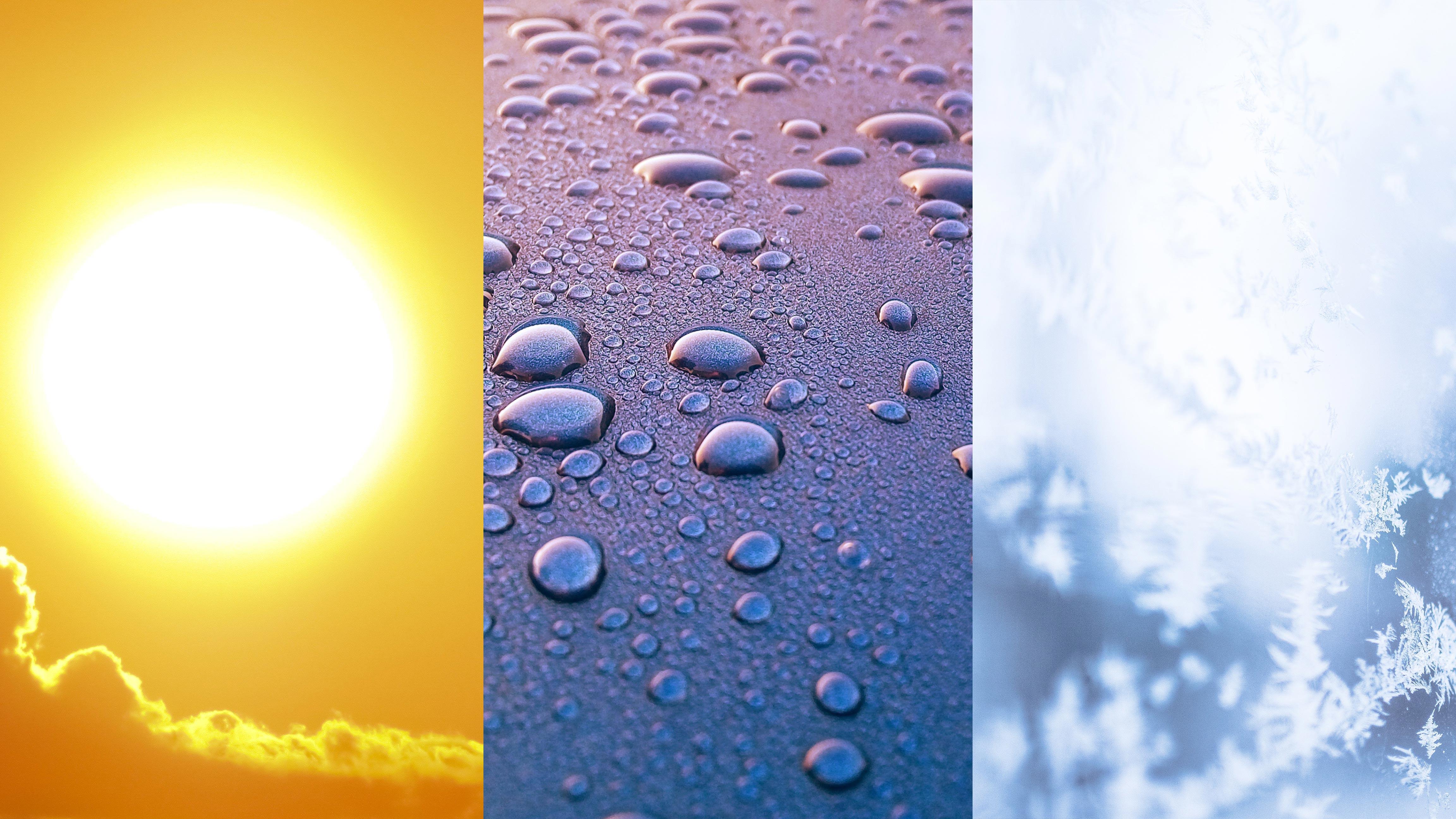 Hier sehen Sie den Wetterschutz im Sommer, Herbst und Winter von Textilfassaden von Planex.