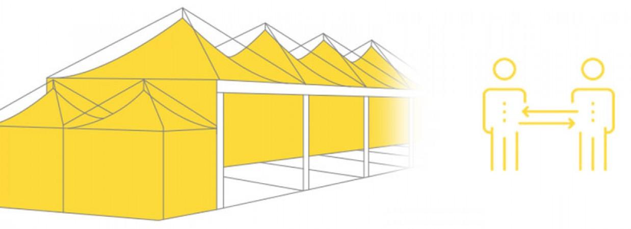 Mehr Abstand und gegen Aerosole: Hochfunktionale Zelte für Restaurants, Schulen, Kindergärten in der Corona-Pandemie